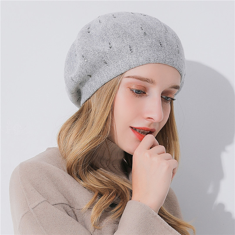 Xthree Women Winter Hat Cashmere Beret Hat Bright Silk Thread Knitted Hat Rabbit Fur Beret For Girl Fashion Lady Cap Women's Berets Women's Hats