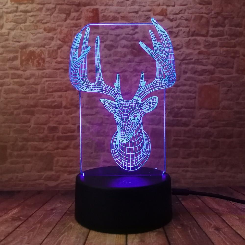 Novelty 3D Long Horned Deer Christmas Decor Night Light Lamp Gadget - Night Lights - Photo 4