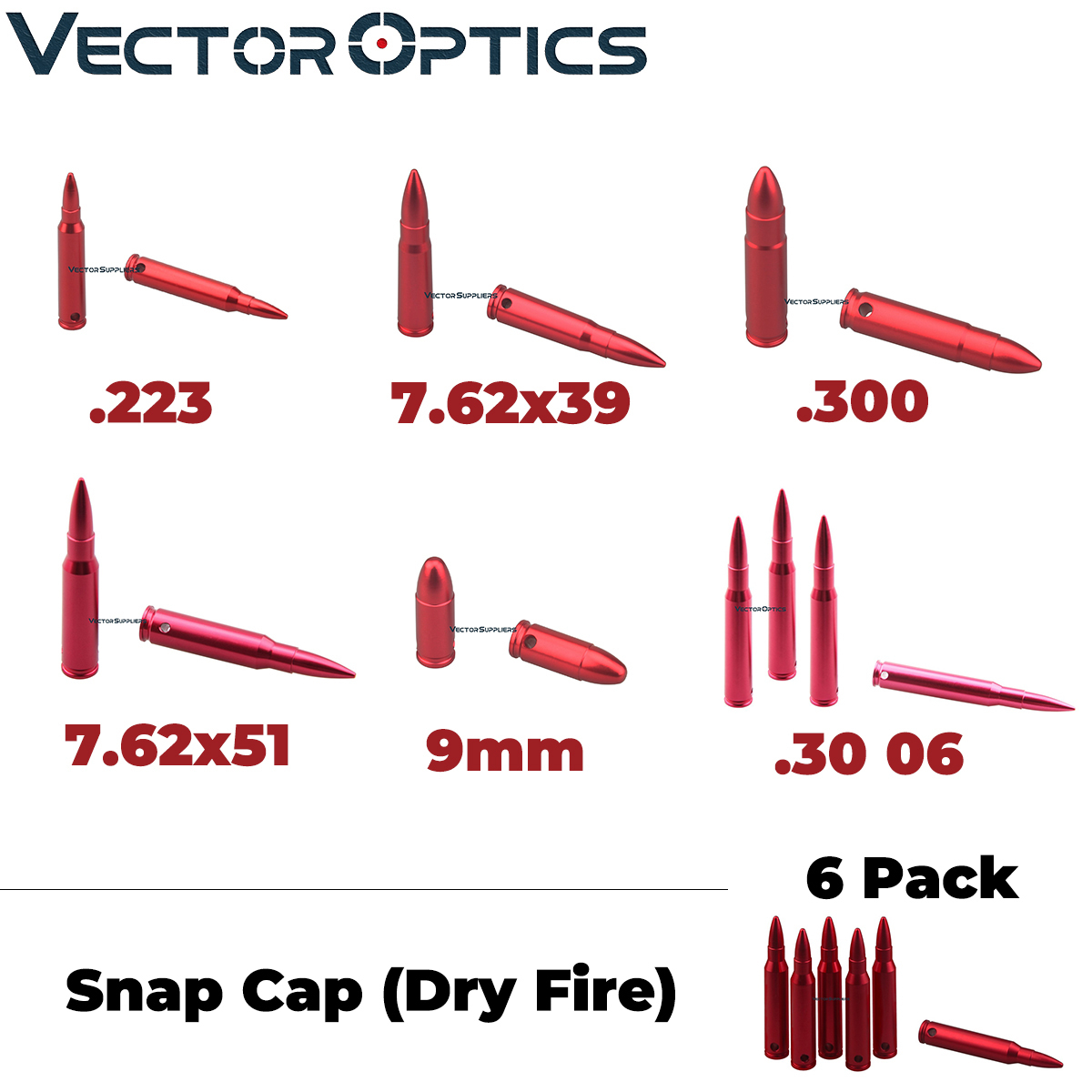 Vector Optics 6 Pack Snap Caps Dry Fire Rifle Pistol Calibers Safty Traning Round 7.62x39mm .223 Remington .300 .30 06  .308 9mm