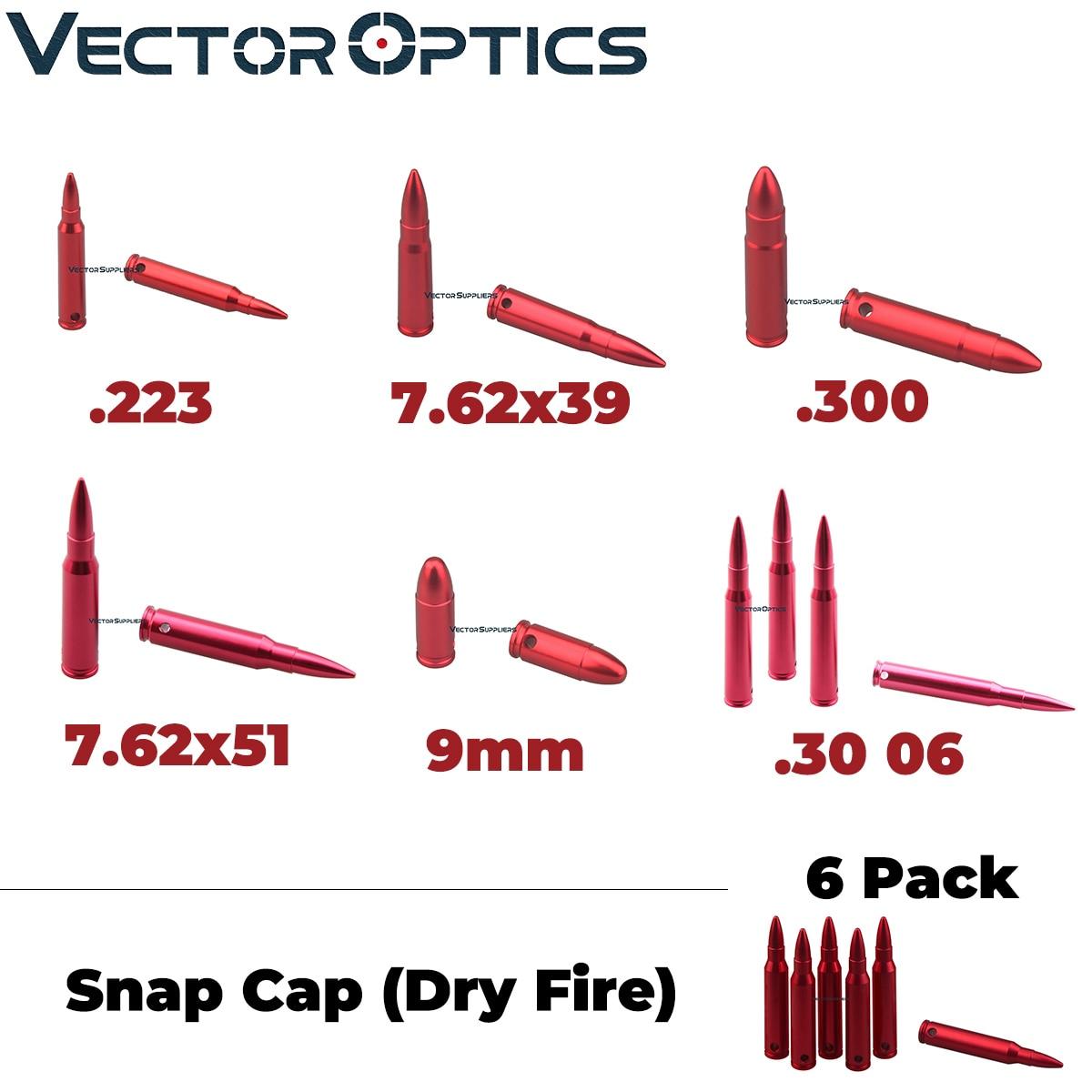 Vector Optics 6 Pack Snap Caps Dry Fire Rifle Pistol Calibers Safty Traning Round 7.62x39mm .223 Remington .300 .30 06  .308 9mm