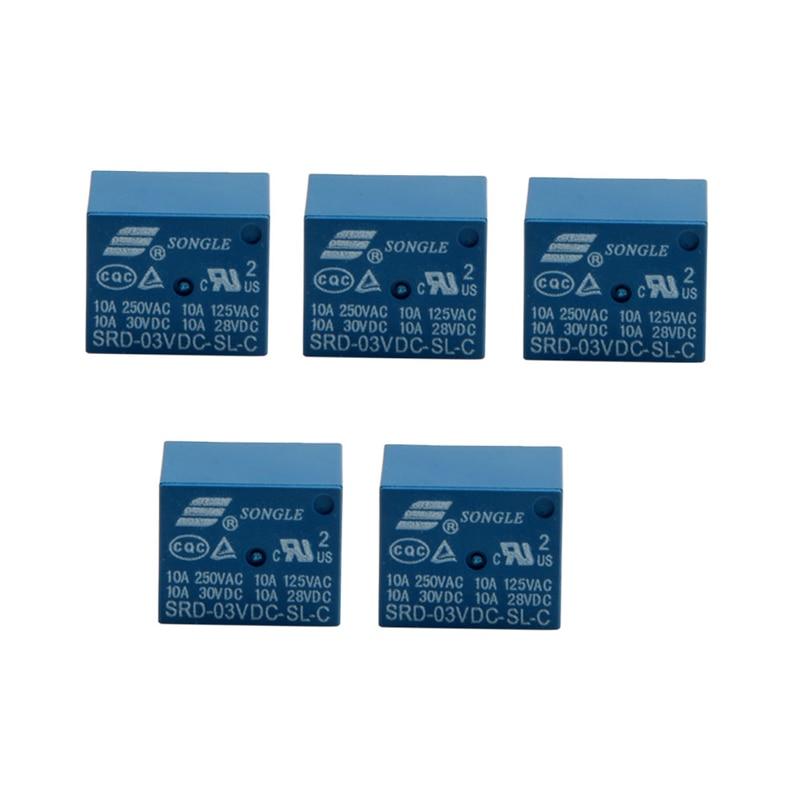 5Pcs Mini 3V DC SONGLE Power Relay SRD-3VDC-SL-C PCB Type New