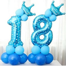 26pcs/set Number Crown Aluminum Foil Balloons Pillar Birthday Party Road Lead Baby Shower Decoration Blue and Pink Digital