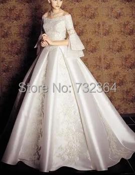 long sleeve beading medieval princess wedding dress vintage European ...