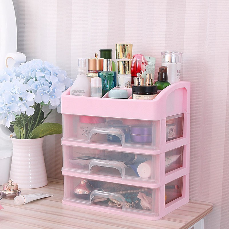 Makeup Storage Shelf Bathroom Office Desk Make UP Organizer Holder Rack Case Plastic Drawers