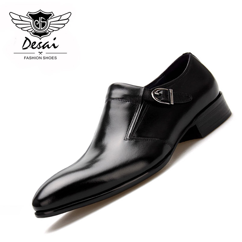 DESAI Full Grain Leather Business Dress Shoes Men Derby Shoes British Style Cowhide Pointed Toe Buckle Men's Leather Shoes classic men s genuine leather shoes cowhide leather pig inner pointed toe derby dress wedding business shoes 2018 fashion