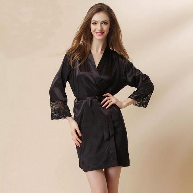 2016New Qualidade Chegada Plus Size da Senhora Pijama De Cetim Rendas Roupões de Seda Falso de Manga Comprida Profundo-Pescoço V Sexy Mulheres Sleepwear Robe Mp2