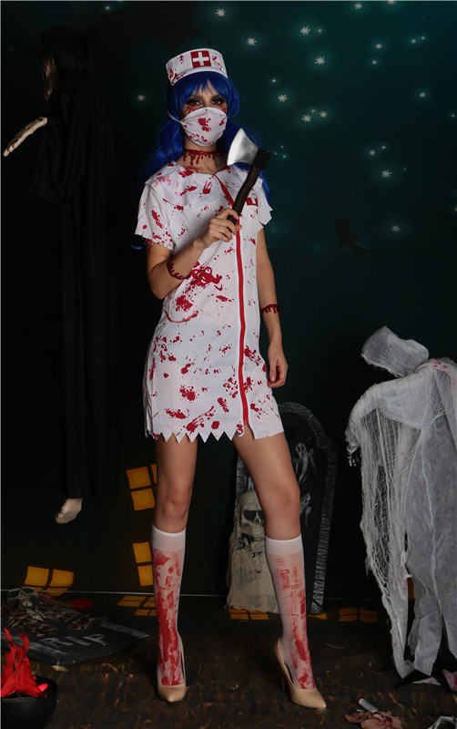 2019 New Bloody Nurse Devil Costume Halloween Cosplay Party Costume Spoof Party Stage Dress Suits Fancy Dresses Clothing