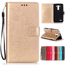 For Fundas LG G3 G4 G5 K4 K7 K10 Leather Case Cover Coque Optimus Flower Painted Stand Wallet