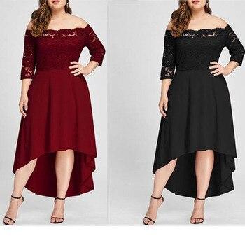 5xl robe de grande taille robe d'été 2019 femme élégante robe de soirée longue vestidos manches à sept points épaules sexy robe en dentelle