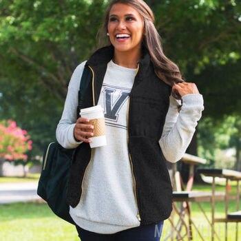 Newest Women's Fleece Fur Vest Zipper Jacket Outerwear Tops Winter Warm Fluffy Coat Sweater Vest
