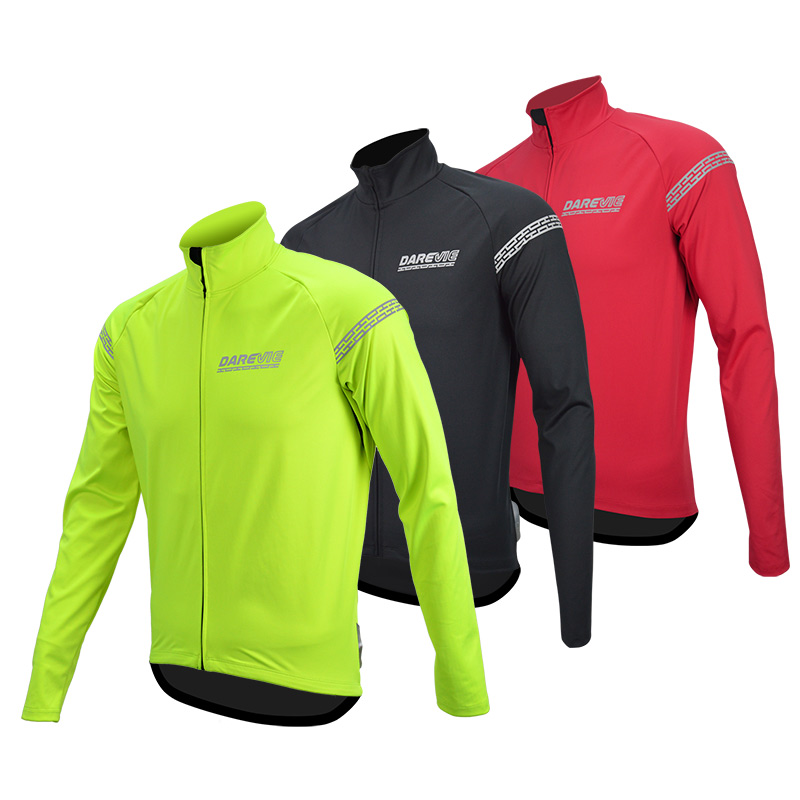 Darevie Windproof Cycling Jacket Waterproof Thermal Fleece Winter Warm up Cycling Jacket bicycle windbreak men women
