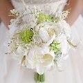Слоновая кость Белый и Зеленый Газон Цветочный Декор Искусственный Пион Свадебный Букет с цветами в Руках Свадебные Невесты Невесты Пион Букеты