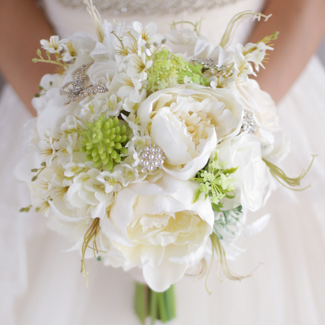 Ivory White & Green Wedding Bouquet Lawn Flower Decor Artificial ...