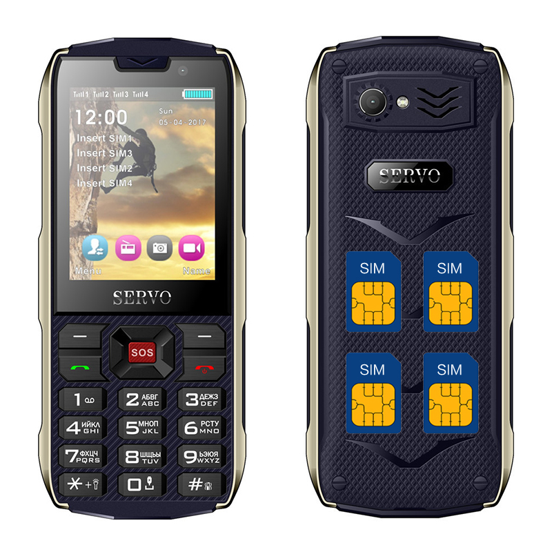 Цена за Servo h8 мобильный телефон 2.8 дюймов quad sim 4 сим карты 4 резервный банк зарядное устройство Фонарик GPRS 3000 мАч Power Bank Телефон P152