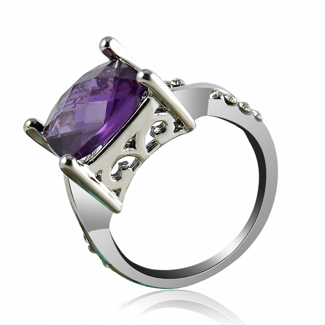 Hot 1pc New Silver Ring Purple Large Zircon Square Plated Crystal Engagement Wedding 3 Size 2 color 2