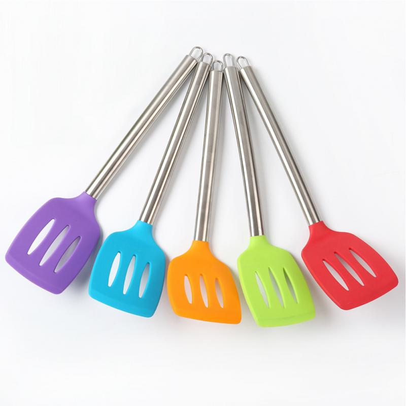 Non-Bastone di Cottura In Silicone Spatola Manico In Acciaio Inox Wok Pala Flessibile Del Silicone Pancake Turner Cucina Utensili Da Cucina