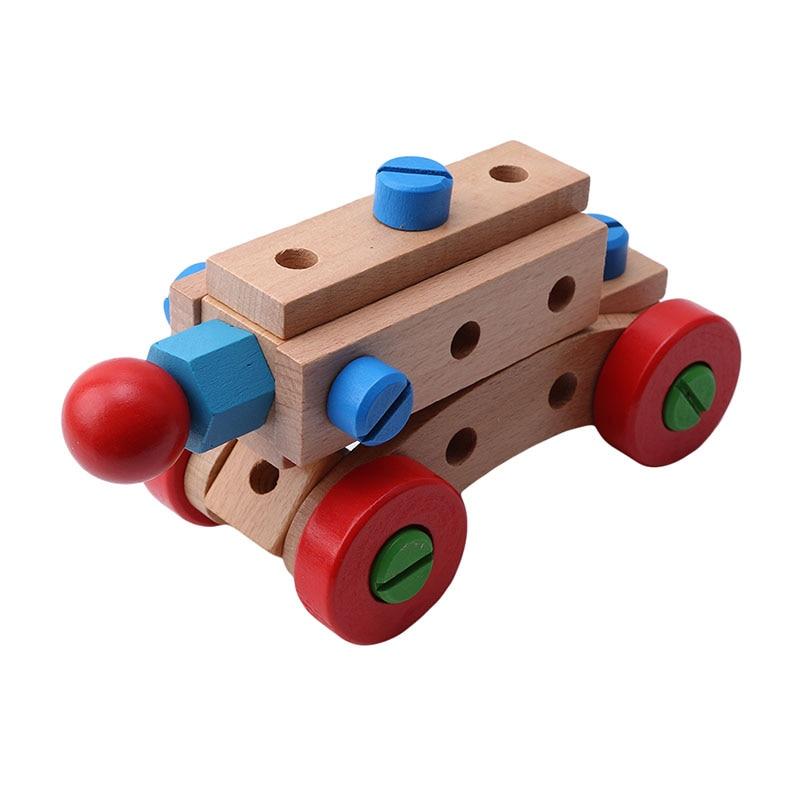 31 Capsules Monteren Moer Bouwstenen Auto Houten Educatief Speelgoed Moer En Schroef Voor Kinderen Demonteren Veranderlijk