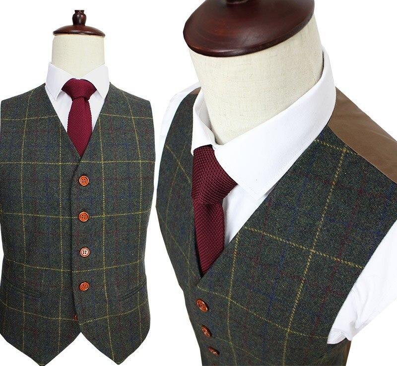 Шерстяной зеленый Ckeck твид индивидуальный заказ мужской костюм блейзеры Ретро сделанный на заказ Узкий покрой свадебные костюмы для мужчин 3 шт