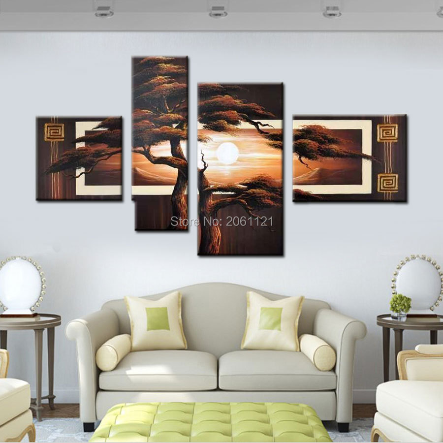 Handpainted 4 Piece wall picture tree landscape black brown Modern ...