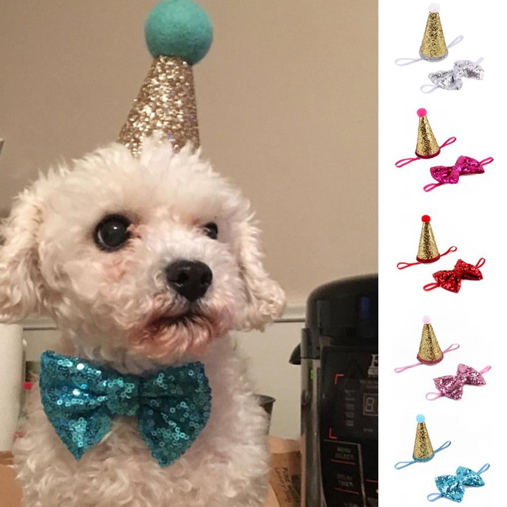 Crown & Bow Tie Pet Dog Puppy Birthday Hat Party Costume Headwear Decoration