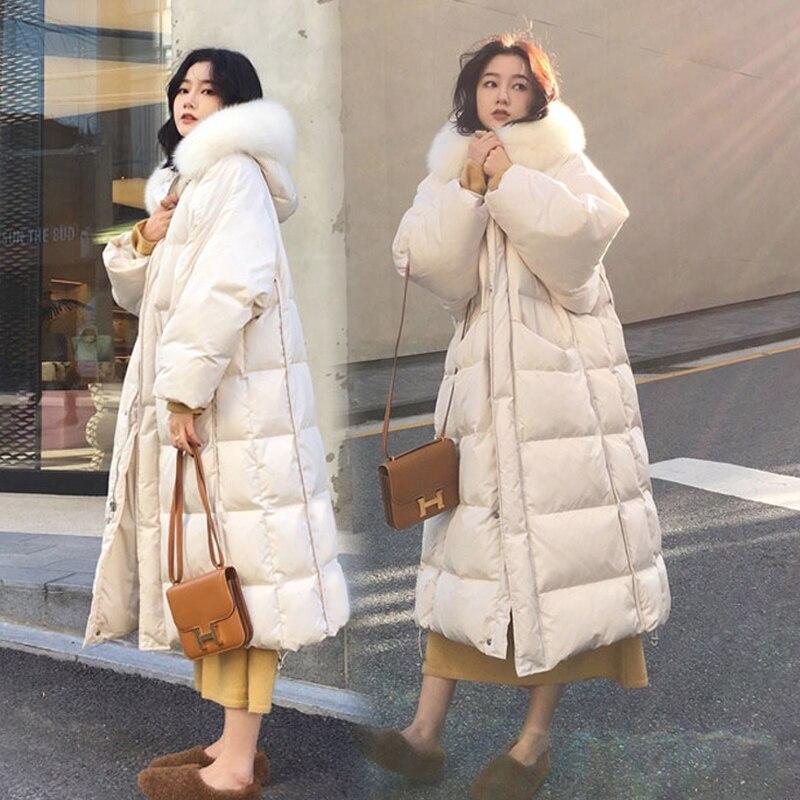 Длинная зимняя пуховая парка, пальто для женщин с большим меховым воротником, хлопковая куртка, пальто для женщин, утолщенное теплое хлопковое пальто, Женское пальто с капюшоном|Парки|   | АлиЭкспресс