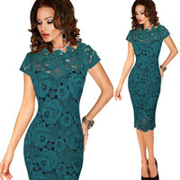 2018 Summer Women Elegant Vintage Dress Office Work Applique Lace Evening Party Cap Sleeve Mother Of Bride Black Green