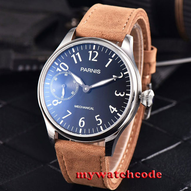 все цены на new arrive 44mm parnis black dial hand winding 6497 mechanical mens watch P800B онлайн