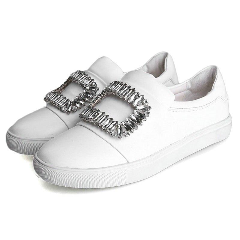 ФОТО AIWEIYi Womens Fashion Flats Shoes Spring Autumn Rhinestone Women Loafer Shoes Genuine Leather Slip on Casual Shoes Woman