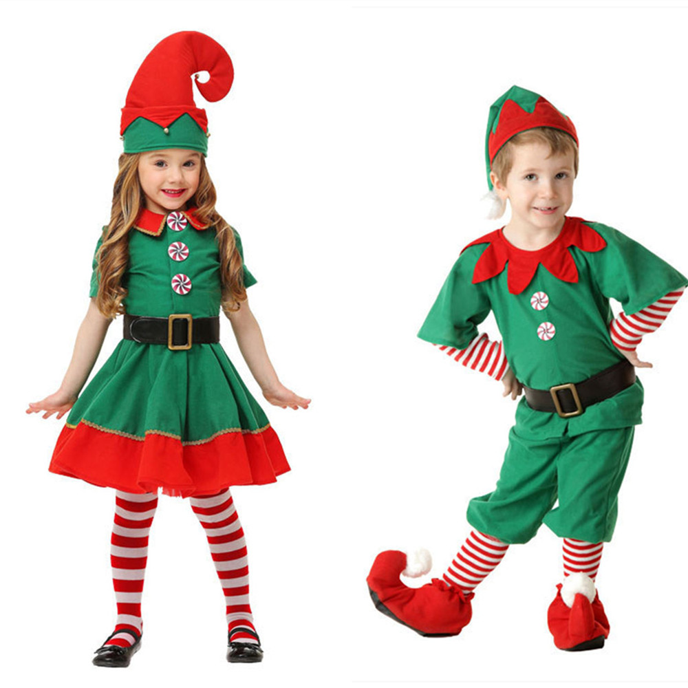 ec7fc60bff 2018 Kids Boy Girl Christmas Elf Costume Kids Green Elf Cosplay Costumes  Carnival Party Supplies Purim Halloween Christmas - a.droneport.me