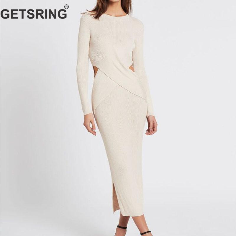 GETSRING Women Dresses Slim Knitted Dress All Match Bottoming Dress Long Sleeve Hollow Out  Long Dresses Spring 2009 New Fashion
