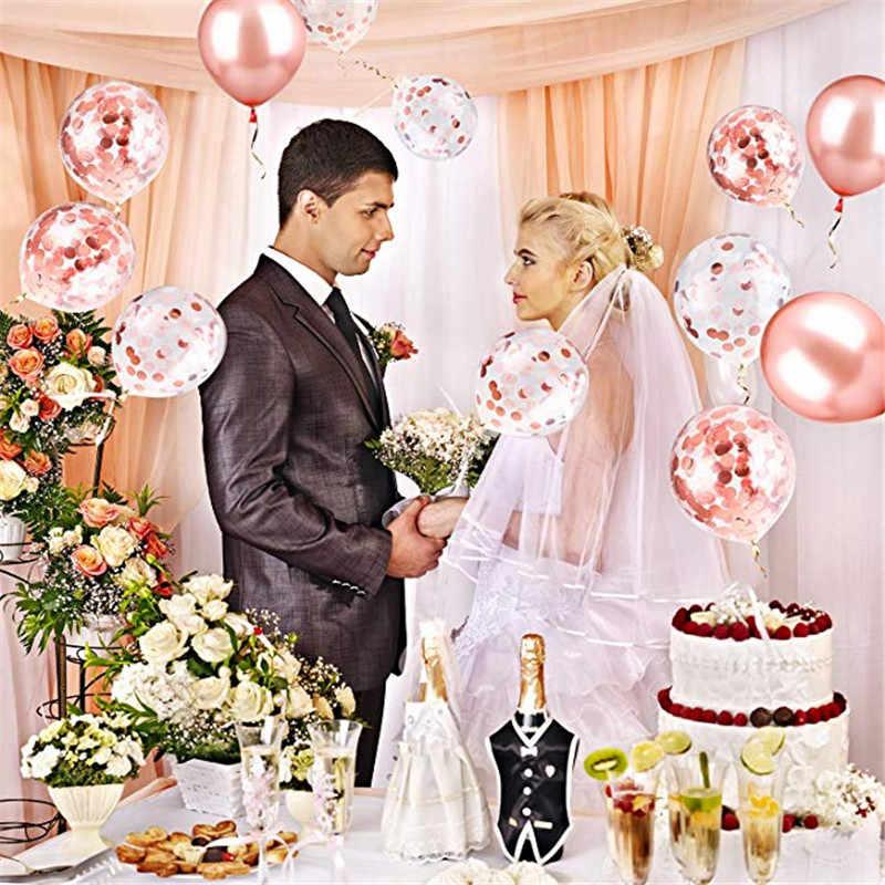 Розовое золото грузовой занавес конфетти сердце фольги воздушный шар День рождения Любовь невеста вечерние украшения Дети подарок на вечеринку в честь рождения ребенка латексный шар