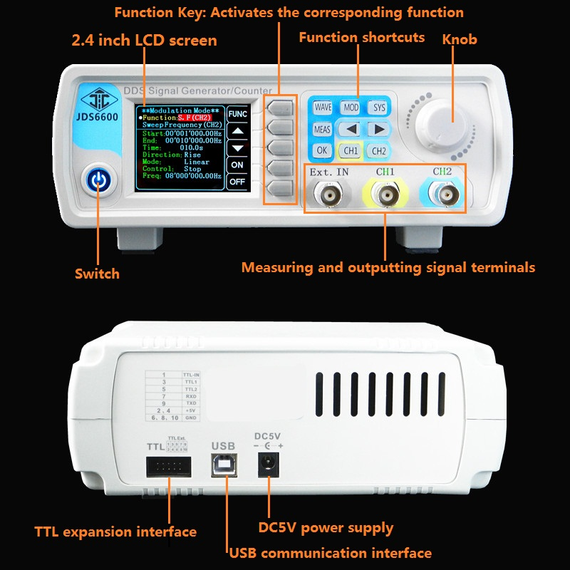JDS6600 30M Dual Channel Full Digital Control DDS Arbitrary Wave Function Signal Generator Pulse Signal Frequency