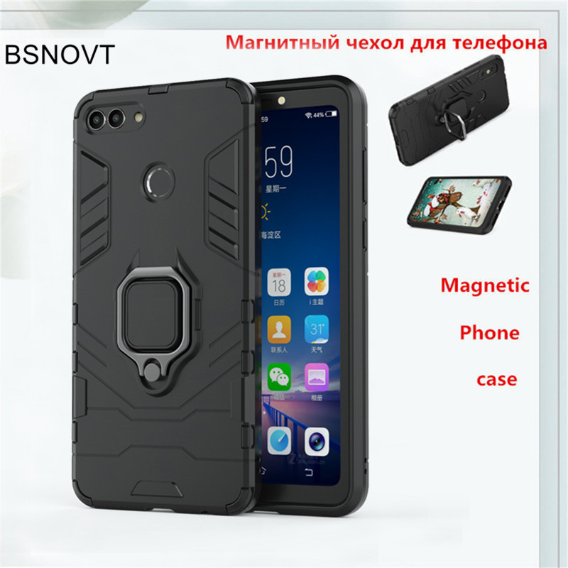For Huawei Y9 2018 Case Magnetic Finger Ring Bracket Anti-knock Armor Cover BSNOVT