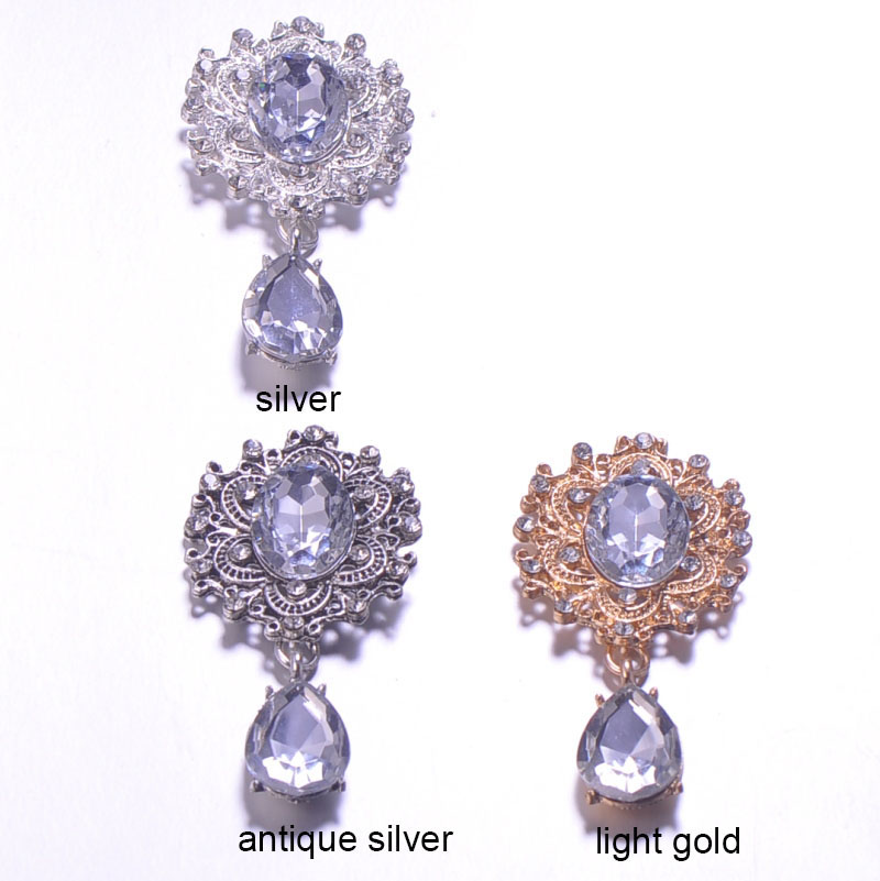 Ev ve Bahçe'ten Düğmeler'de (J0667) 29mm x 57mm metal taklidi düğmesi, kristal düğmesi, gümüş veya antika altın veya açık altın, düz sırt, 100 adet/grup'da  Grup 1