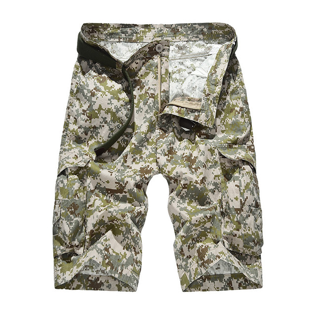 Cotton Men Camouflage Summer Casual Shorts Zipper Pocket Straight Knee-length Military Army Green Male Harem Jogger Trousers