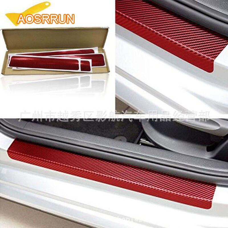 AOSRRUN grãos de fibra de Carbono etiqueta do carro bar limiar pedal de boas vindas Para Um Mercedes-Classe B-Classe C-classe GLK w205 GLC GLA CIA