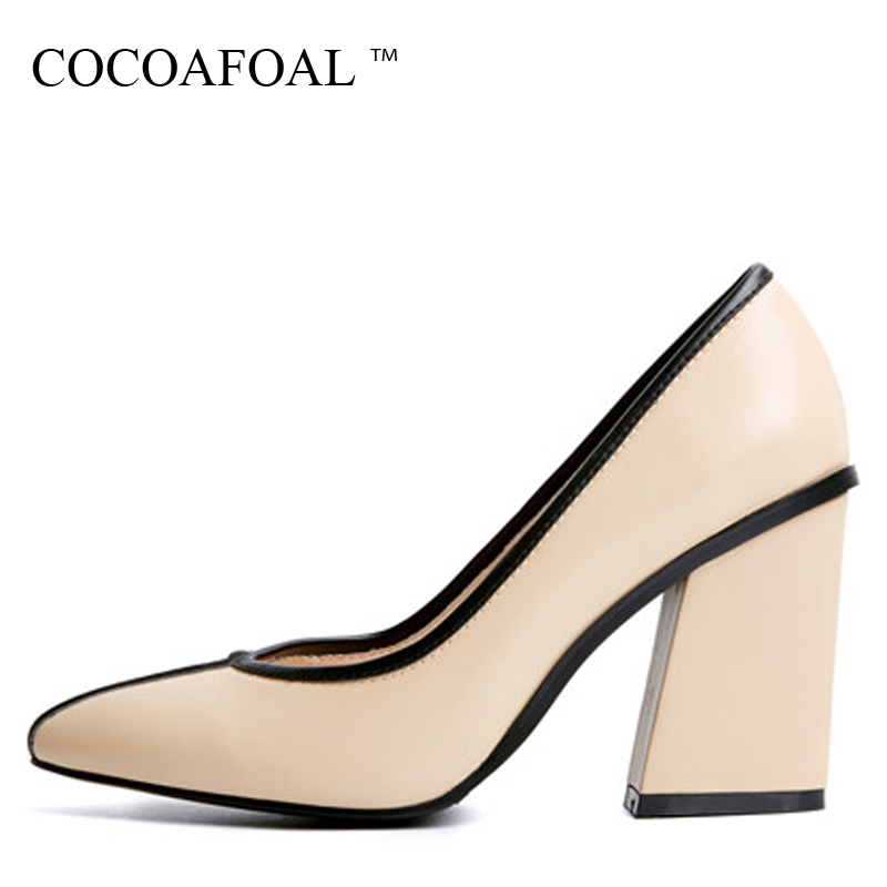 COCOAFOAL Woman High Heels Shoes Plus Size 32 - 42 Fashion Sexy Wedding Pumps Black Apricot Pink White Genuine Leather Pump 2017 baoyafang white red tassels women wedding shoes bride 12cm 14cm high heels platform shoes woman high pumps female shoes