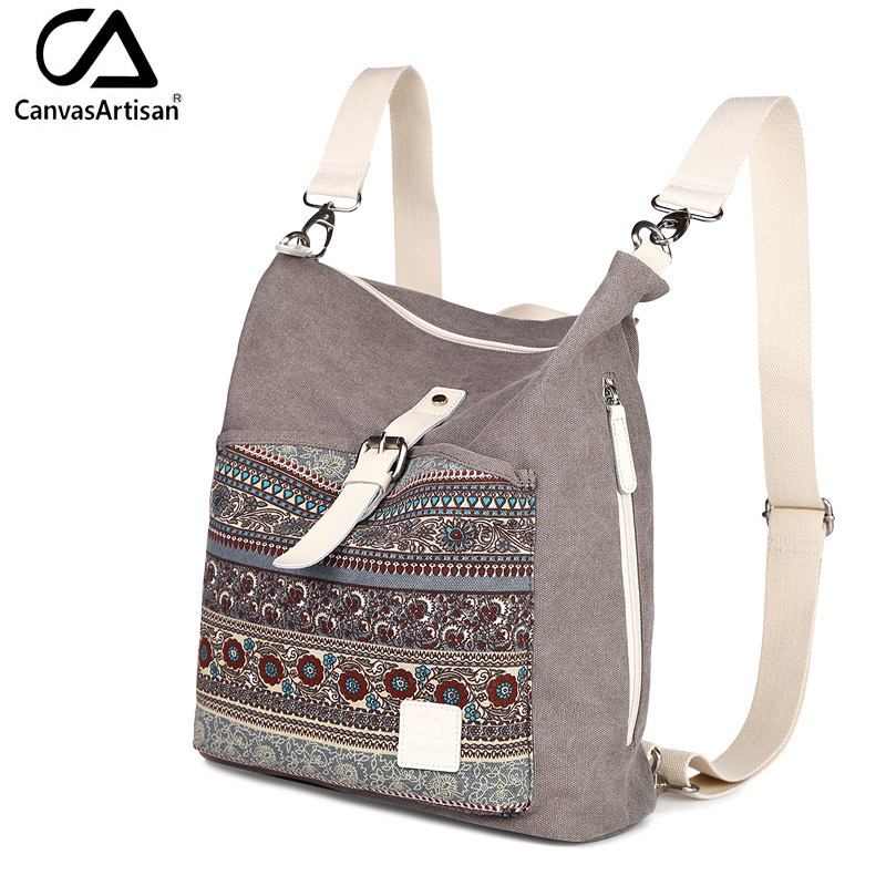 תרמילים - Canvasartisan top quality women canvas backpack bookbag female  dual purpose shoulder bag daily travel backpacks crossbody bags 78b9f558a73ca