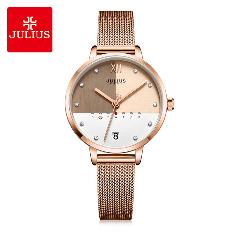 Julius Lady Luxury Stainless Steel Mesh Belt Watch Woman Simple Multi Function Calendar Display Quartz Wristwatches