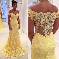 Mermaid Long Yellow Prom Dresses 2017 Sexy Off The Shoulder Vestido Branco Illusion Imported Party Dress