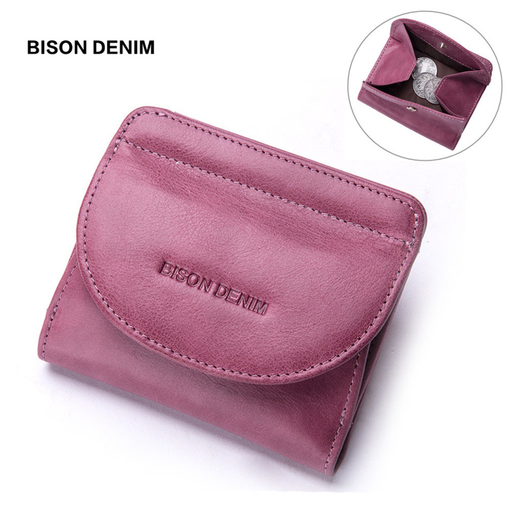 BISON DENIM Genuine Leather Women Purse Coin Wallet for Women 2018 Cowhide Female Card Holder Carteira Feminina Lady purse 100% women genuine leather wallet oil wax cowhide purse woman vintage lady clutch coin purses card holder carteira feminina