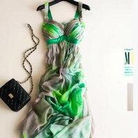 Шелк летнее платье Для женщин Элегантный Пляж длинное зеленое платье с принтом модные Стиль одежда высокого качества Бесплатная доставка;