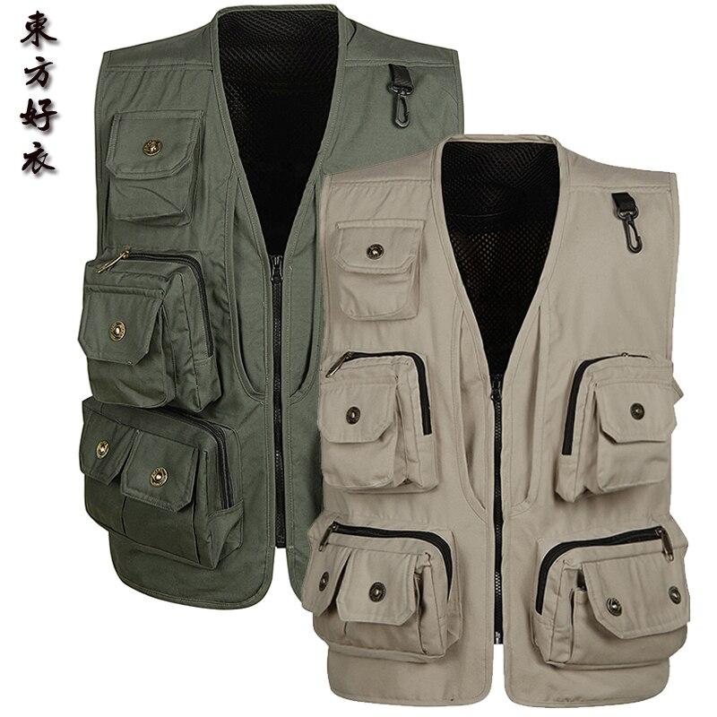 Brieuces Fashion Vests For Men Wholesale Men's Multi pocket Photography Vest Men Casual Reporter Director Military