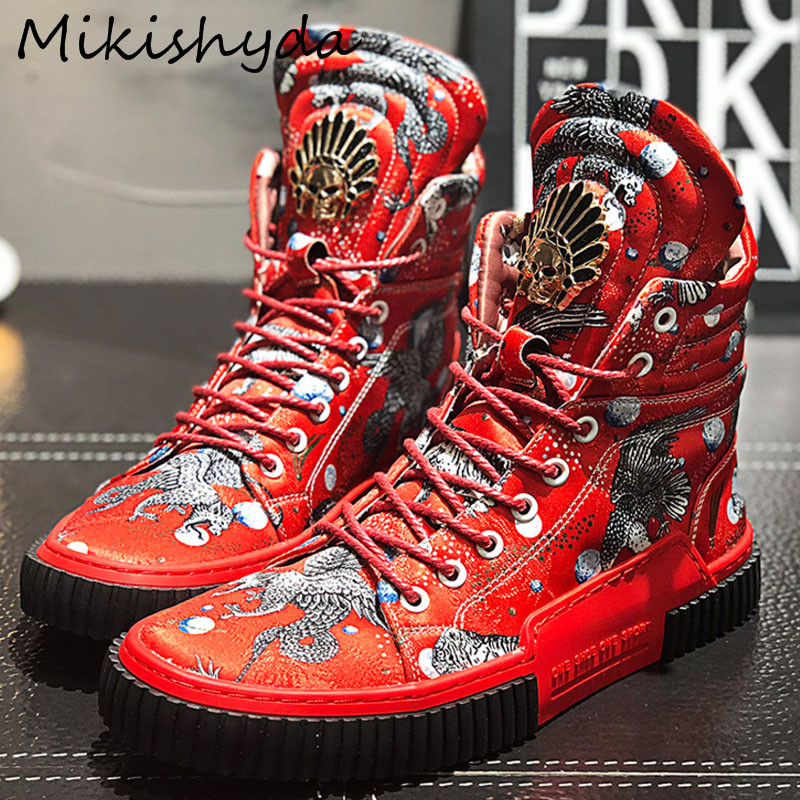 Mikishyda New High Top Shoes Man Mixed Color Print Lace Up Metal Decoration Street Style Hip Hop Leisure Denim SHoes Ma