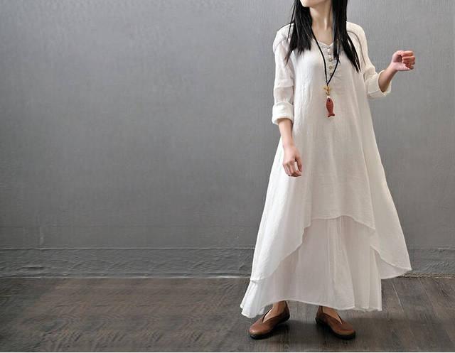 039538ece Women Casual Loose Long Dress 95% Cotton A Linen Flax dresses Summer Dress  Solid Color