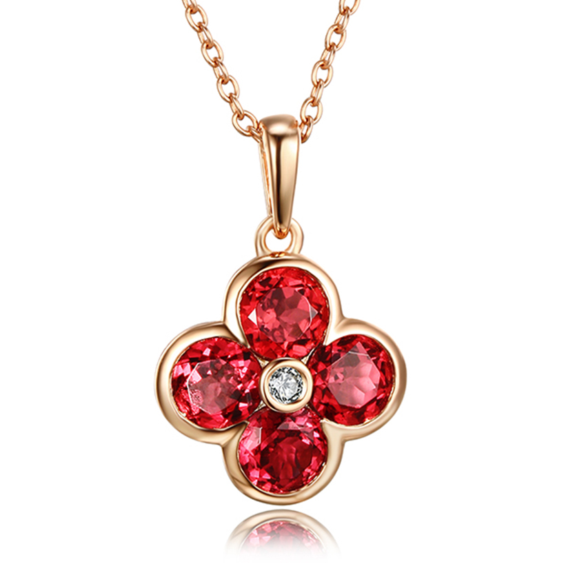 real 925 silver necklace clover design pendant garnet gemstone necklace pink gold plated fine jewelry pendant necklace цена 2017