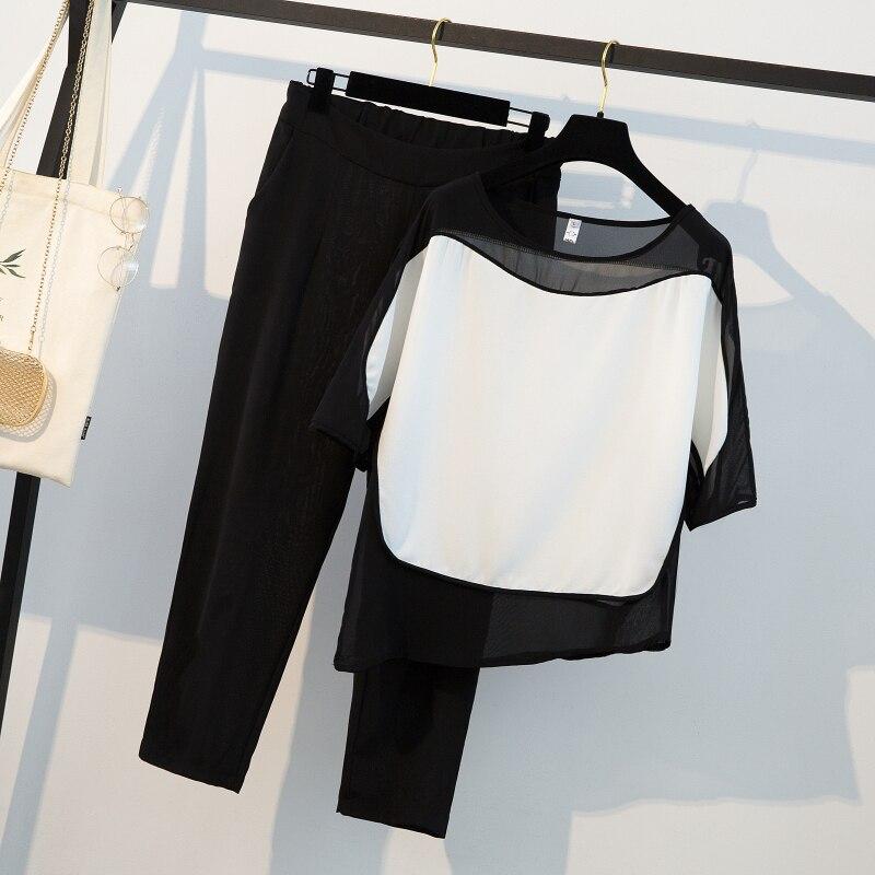 HAMALIEL Summer Black White Patchwork Chiffon Loose Shirt Women Pant Suits And Plus Size Elastic Waist Ankle Length Pants Suits