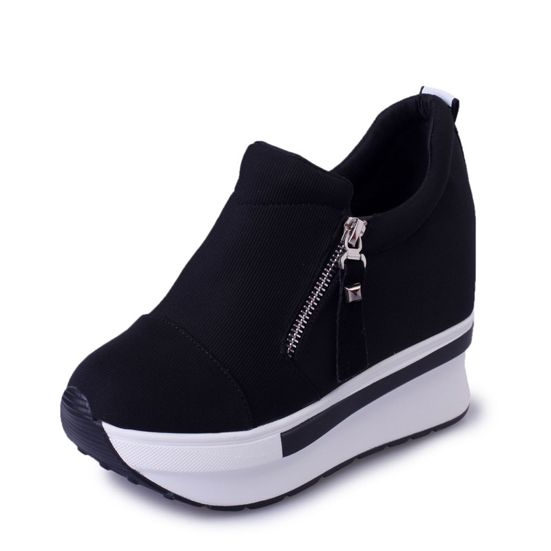 Fashion Wedges Women Boots 2017 New Platform Shoes Woman Creepers Slip On Ankle Boots Fashion Flats Casual Women Shoes XWD4722