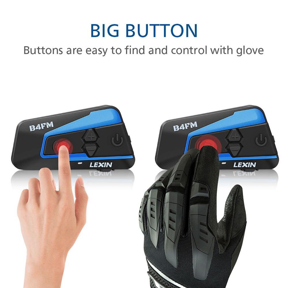 2 pièces Lexin 4 Façon Motobike, Moto casque bluetooth Casques Interphone, FM BT intercomunicador écouteurs MP3 interfone - 6