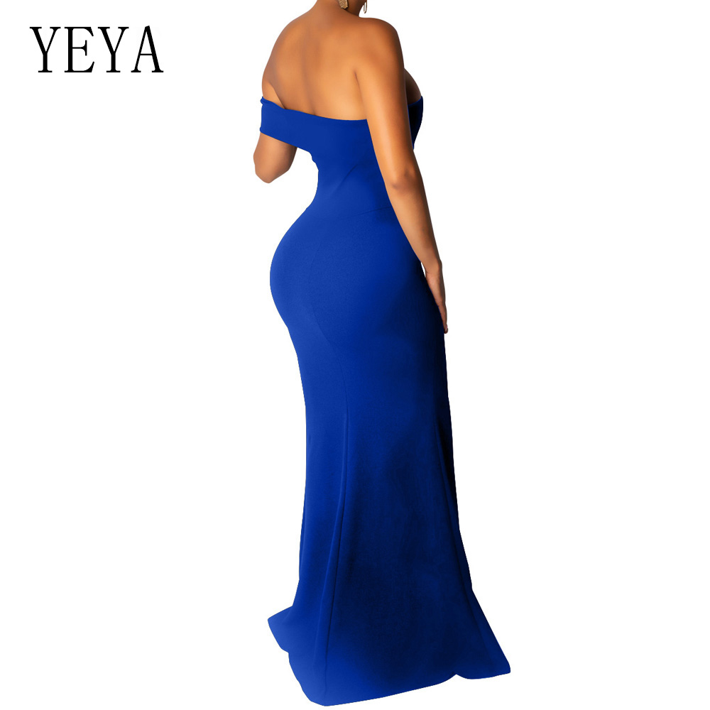 YEYA High Split Floor length Maxi Dress Women Sexy Strapless Hollow Out Bodycon Party Dress Summer Elegant Robe Longue Boheme in Dresses from Women 39 s Clothing